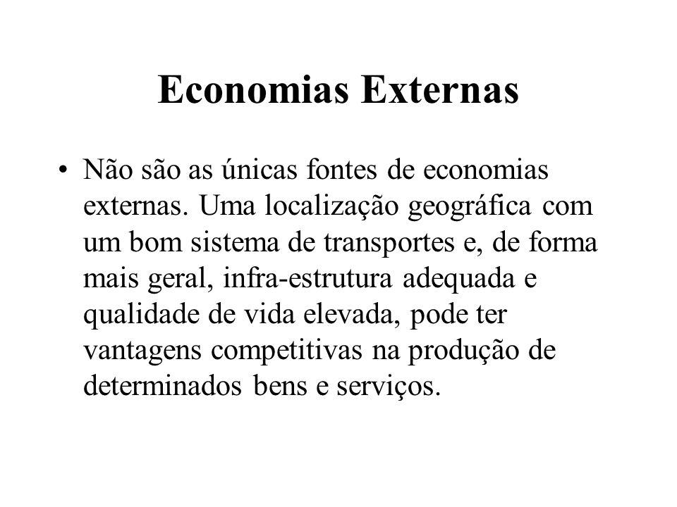 Economias Externas Não são as únicas fontes de economias externas. Uma localização geográfica com um bom sistema de transportes e, de forma mais geral