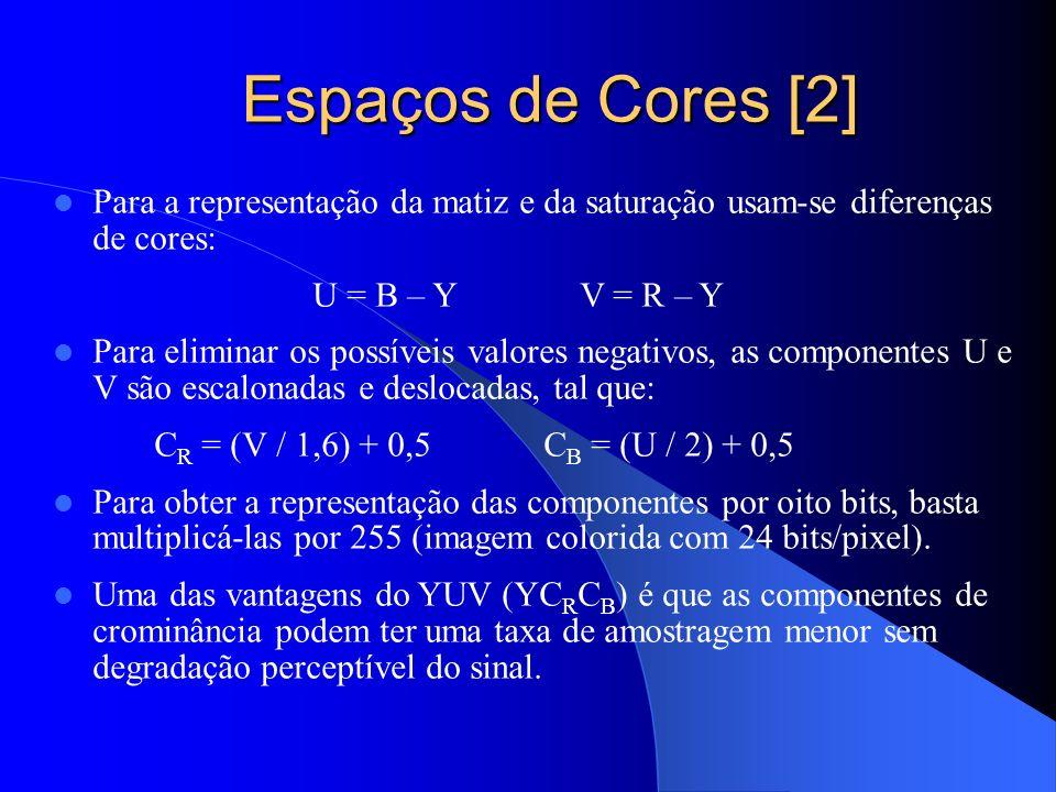 Espaços de Cores [2] Espaços de Cores [2] Para a representação da matiz e da saturação usam-se diferenças de cores: U = B – Y V = R – Y Para eliminar