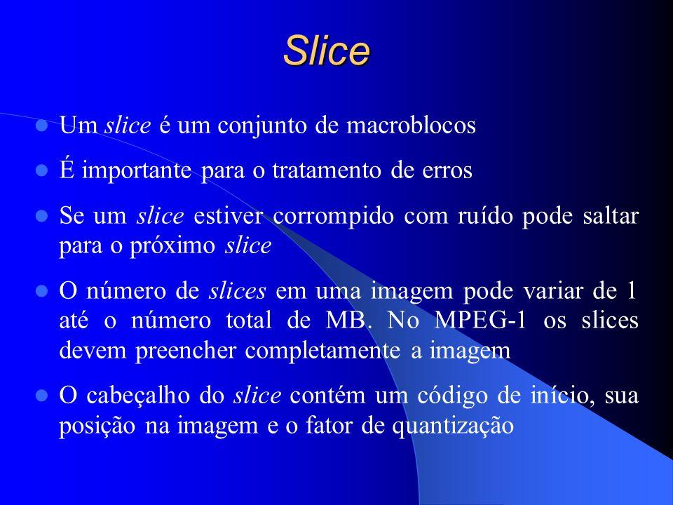 Slice Um slice é um conjunto de macroblocos É importante para o tratamento de erros Se um slice estiver corrompido com ruído pode saltar para o próxim