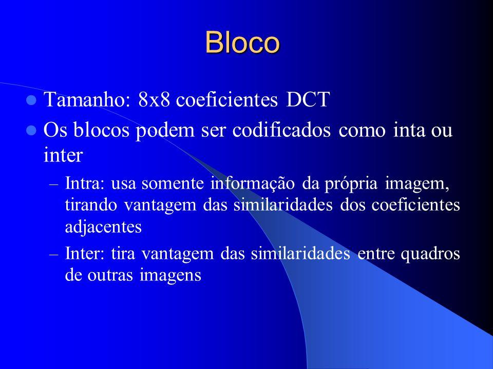 Bloco Tamanho: 8x8 coeficientes DCT Os blocos podem ser codificados como inta ou inter – Intra: usa somente informação da própria imagem, tirando vant