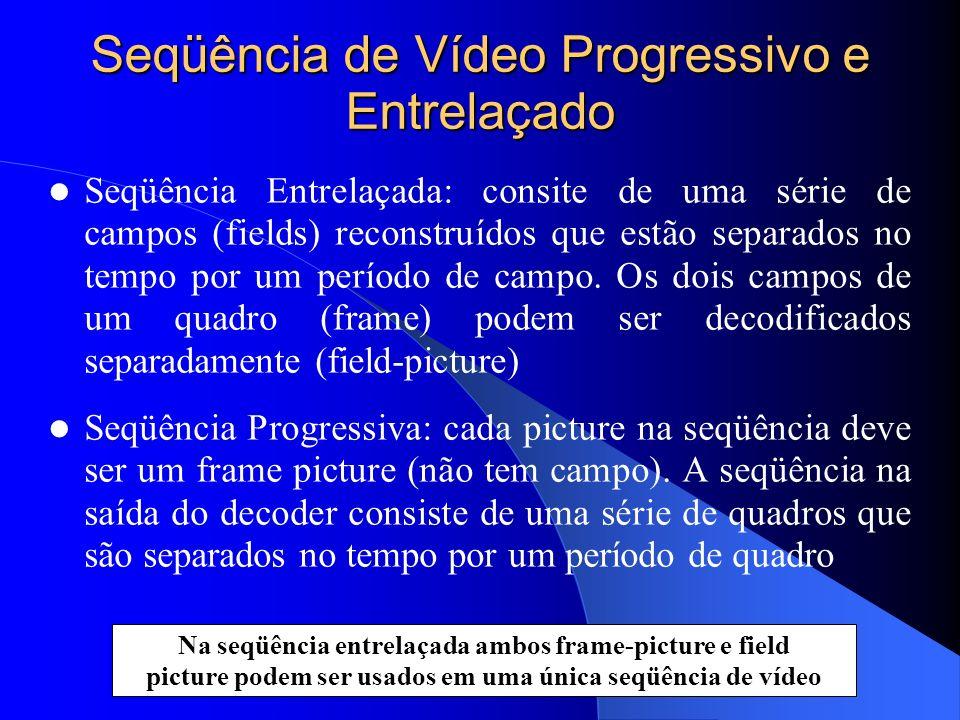 Seqüência de Vídeo Progressivo e Entrelaçado Seqüência Entrelaçada: consite de uma série de campos (fields) reconstruídos que estão separados no tempo