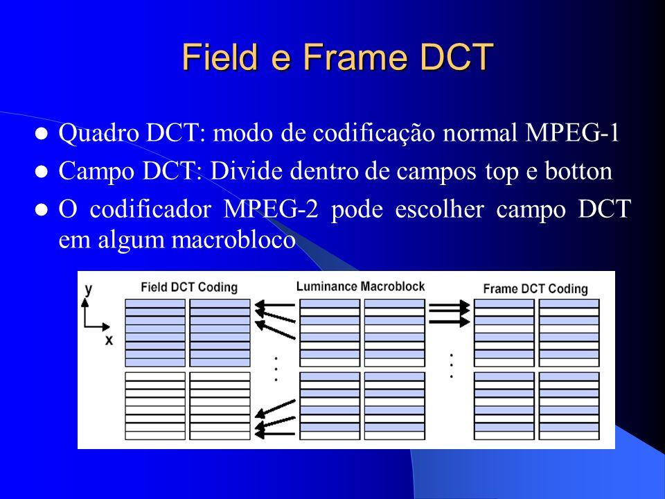 Field e Frame DCT Quadro DCT: modo de codificação normal MPEG-1 Campo DCT: Divide dentro de campos top e botton O codificador MPEG-2 pode escolher cam