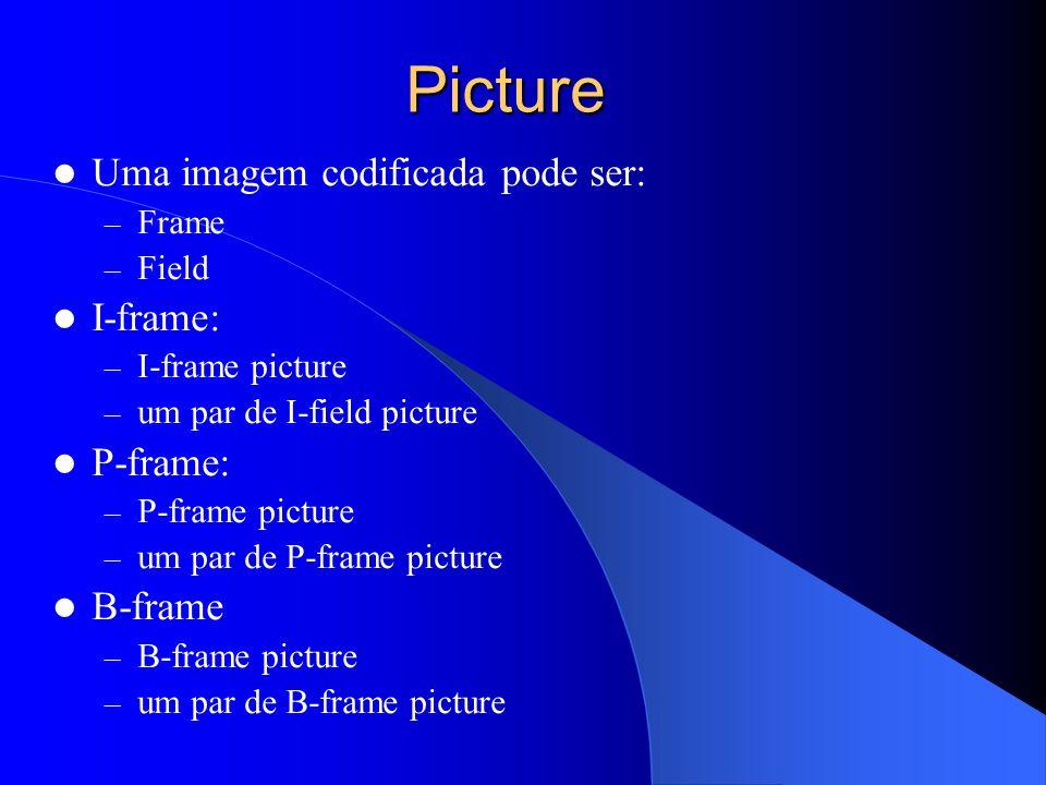 Picture Uma imagem codificada pode ser: – Frame – Field I-frame: – I-frame picture – um par de I-field picture P-frame: – P-frame picture – um par de