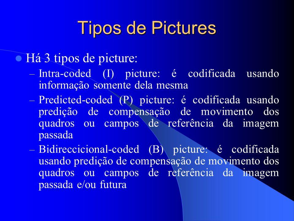 Tipos de Pictures Há 3 tipos de picture: – Intra-coded (I) picture: é codificada usando informação somente dela mesma – Predicted-coded (P) picture: é