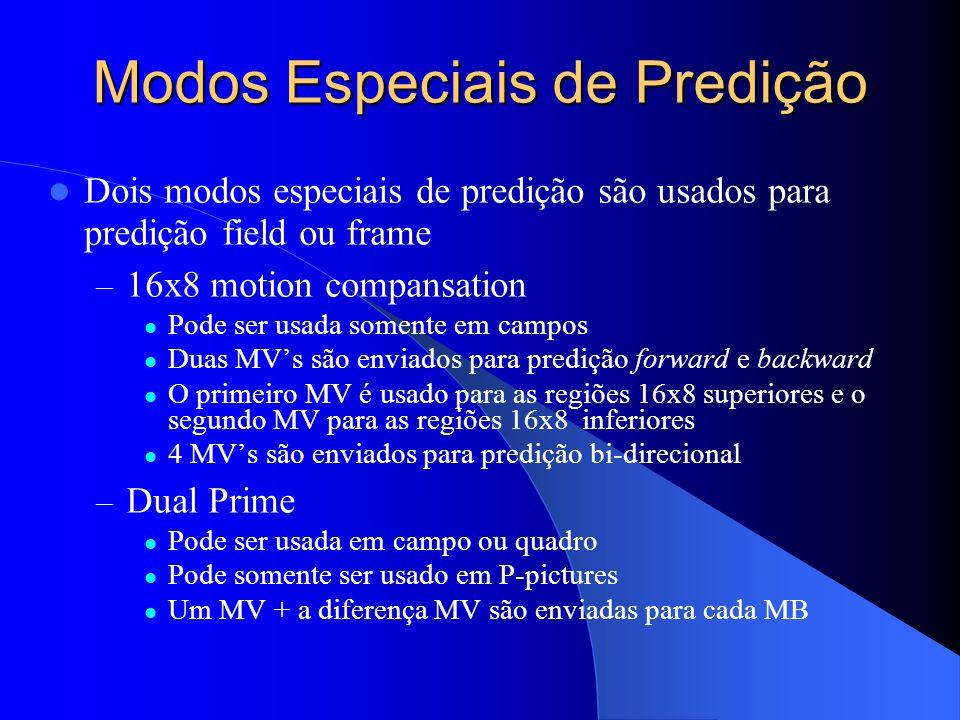 Modos Especiais de Predição Dois modos especiais de predição são usados para predição field ou frame – 16x8 motion compansation Pode ser usada somente