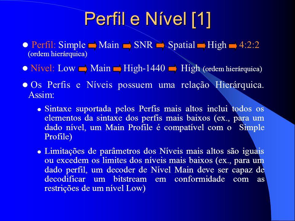 Perfil e Nível [1] Perfil: Simple Main SNR Spatial High 4:2:2 (ordem hierárquica) Nível: Low Main High-1440 High (ordem hierárquica) Os Perfis e Nívei
