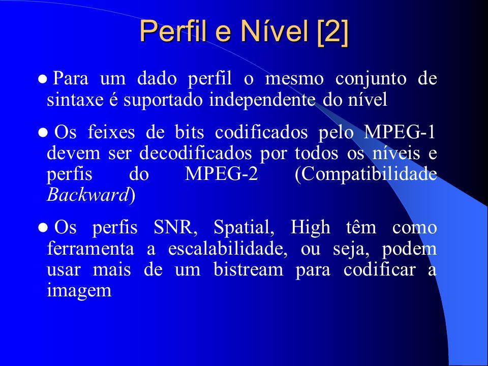 Perfil e Nível [2] Para um dado perfil o mesmo conjunto de sintaxe é suportado independente do nível Os feixes de bits codificados pelo MPEG-1 devem s