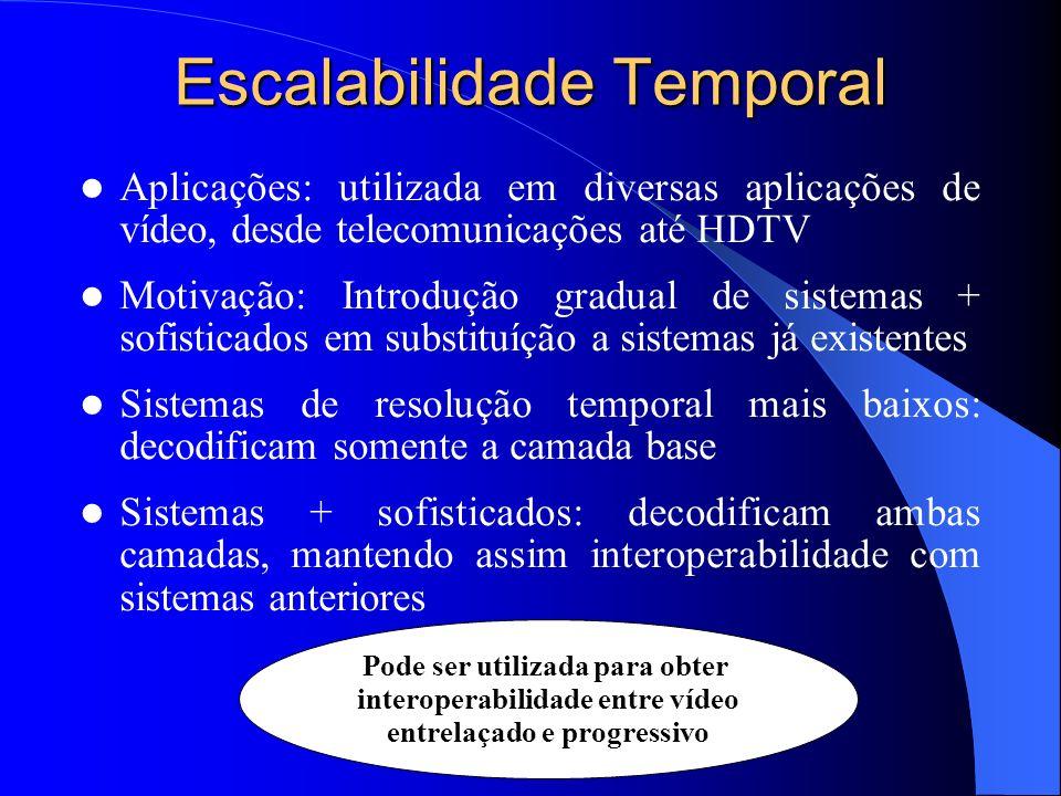 Escalabilidade Temporal Aplicações: utilizada em diversas aplicações de vídeo, desde telecomunicações até HDTV Motivação: Introdução gradual de sistem
