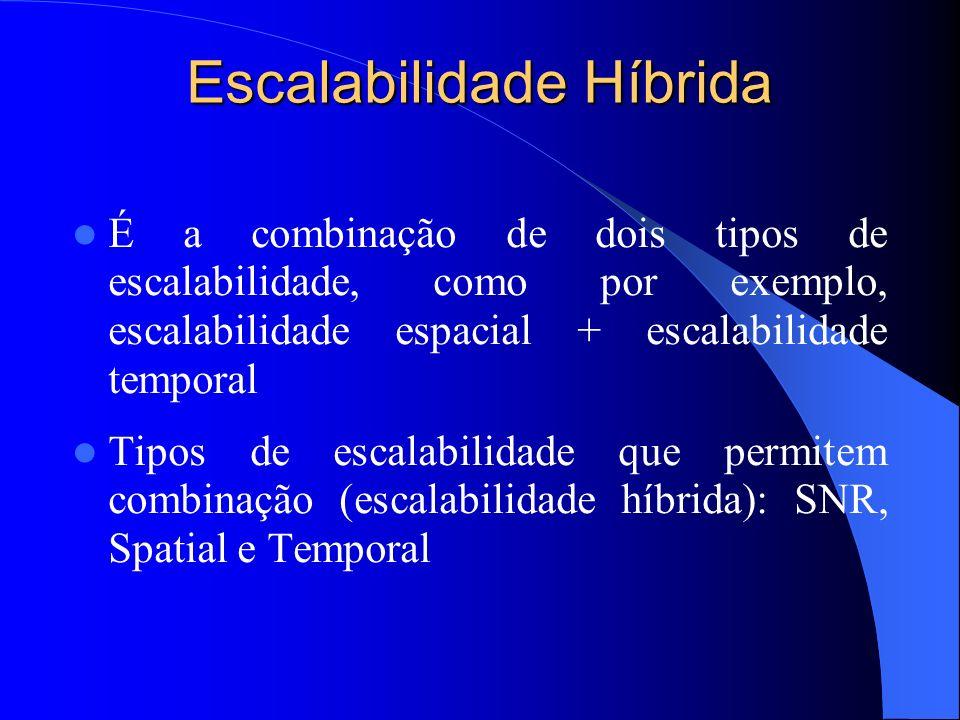 Escalabilidade Híbrida É a combinação de dois tipos de escalabilidade, como por exemplo, escalabilidade espacial + escalabilidade temporal Tipos de es