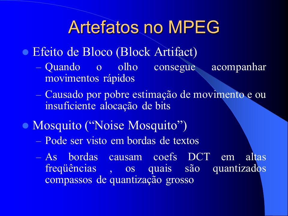 Artefatos no MPEG Efeito de Bloco (Block Artifact) – Quando o olho consegue acompanhar movimentos rápidos – Causado por pobre estimação de movimento e