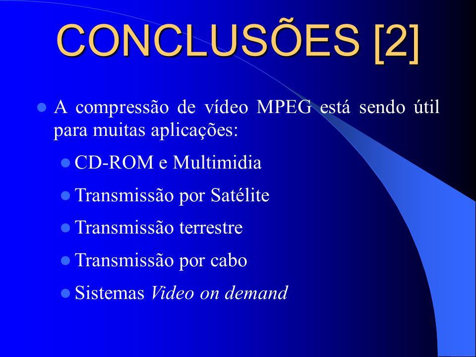 CONCLUSÕES [2] A compressão de vídeo MPEG está sendo útil para muitas aplicações: CD-ROM e Multimidia Transmissão por Satélite Transmissão terrestre T