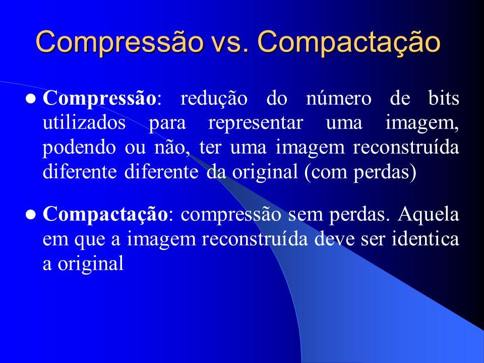 Compressão vs. Compactação Compressão: redução do número de bits utilizados para representar uma imagem, podendo ou não, ter uma imagem reconstruída d