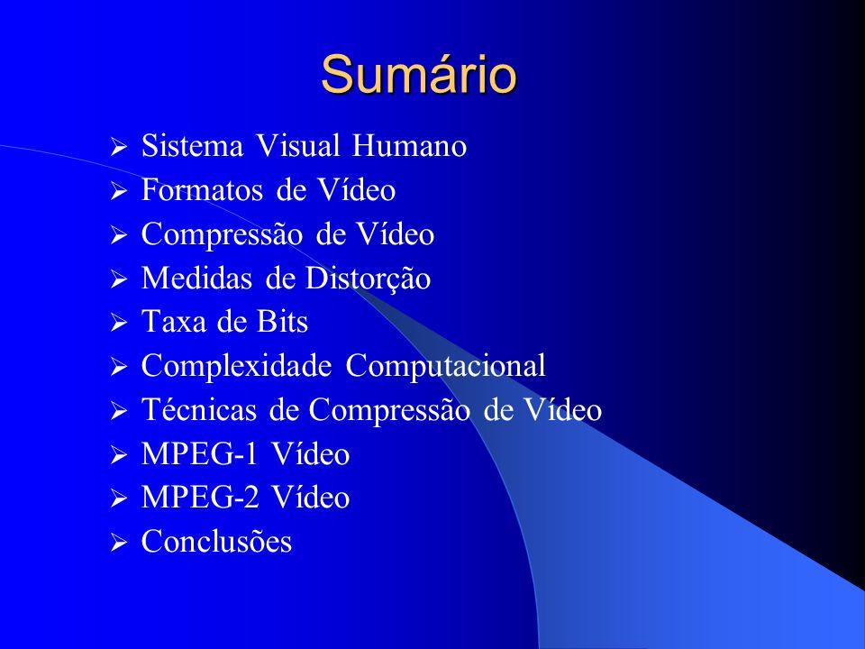 Sumário Sistema Visual Humano Formatos de Vídeo Compressão de Vídeo Medidas de Distorção Taxa de Bits Complexidade Computacional Técnicas de Compressã