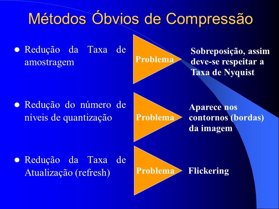 Métodos Óbvios de Compressão Redução da Taxa de amostragem Redução do número de níveis de quantização Redução da Taxa de Atualização (refresh) Problem