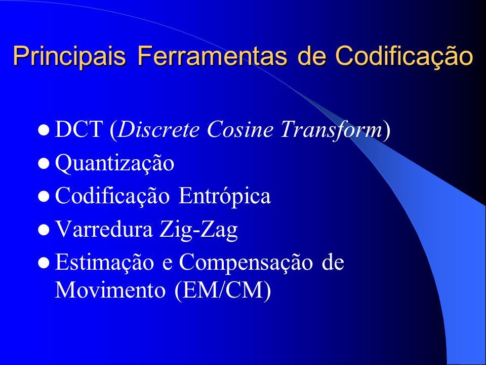 Principais Ferramentas de Codificação DCT (Discrete Cosine Transform) Quantização Codificação Entrópica Varredura Zig-Zag Estimação e Compensação de M