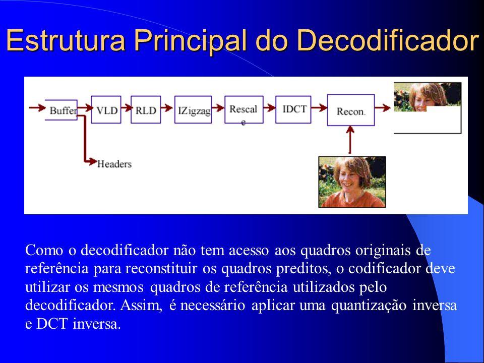 Estrutura Principal do Decodificador Como o decodificador não tem acesso aos quadros originais de referência para reconstituir os quadros preditos, o