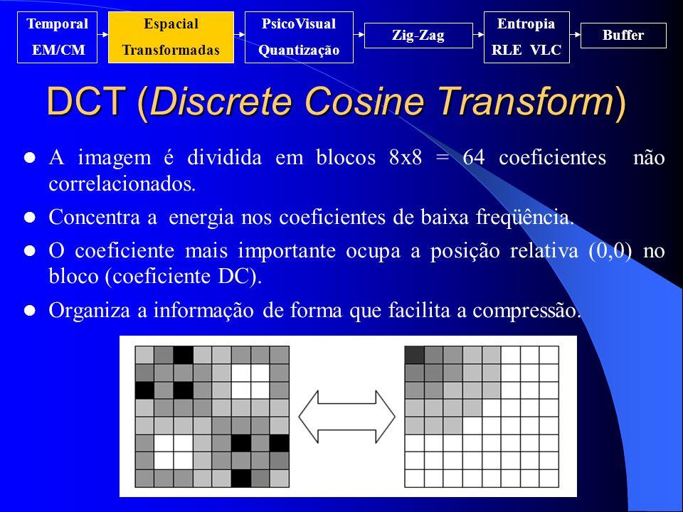 DCT (Discrete Cosine Transform) A imagem é dividida em blocos 8x8 = 64 coeficientes não correlacionados. Concentra a energia nos coeficientes de baixa