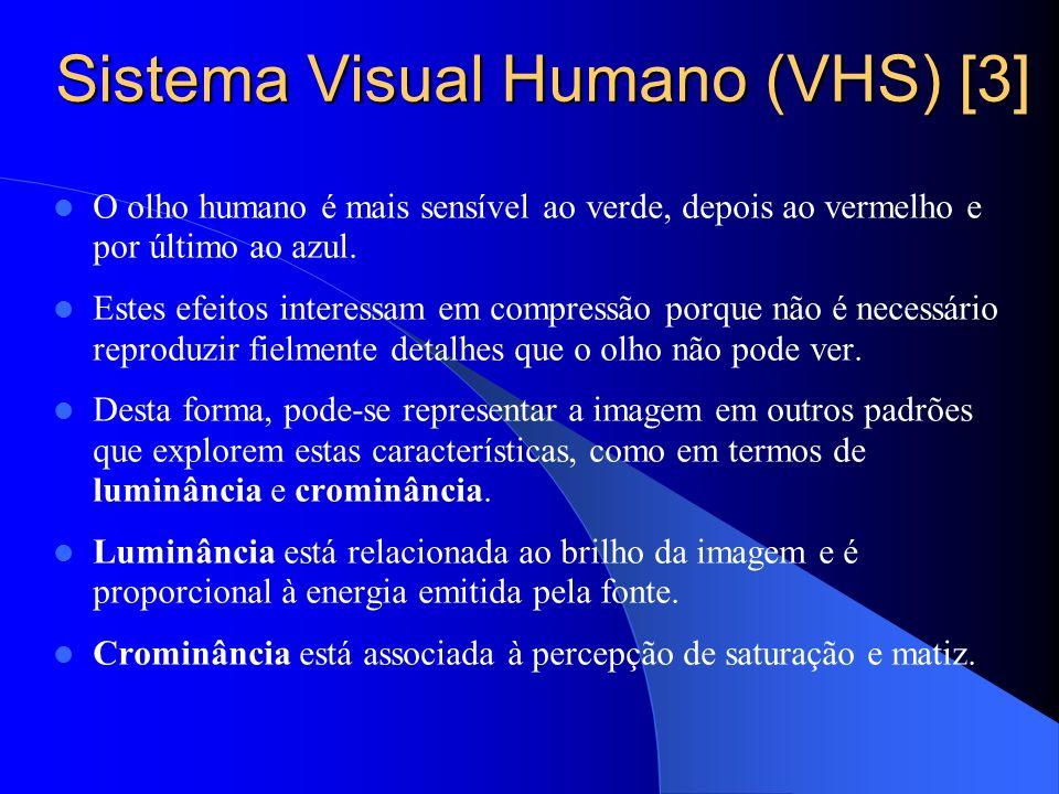 Sistema Visual Humano (VHS) [3] O olho humano é mais sensível ao verde, depois ao vermelho e por último ao azul. Estes efeitos interessam em compressã