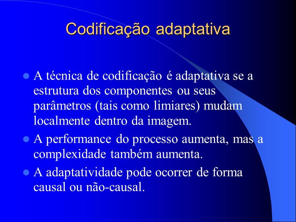 Codificação adaptativa A técnica de codificação é adaptativa se a estrutura dos componentes ou seus parâmetros (tais como limiares) mudam localmente d