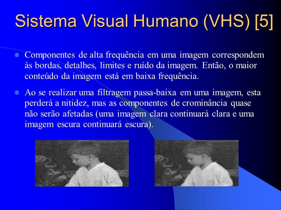 Sistema Visual Humano (VHS) [5] Componentes de alta frequência em uma imagem correspondem às bordas, detalhes, limites e ruído da imagem. Então, o mai