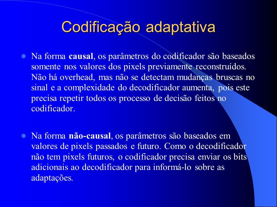 Codificação adaptativa Na forma causal, os parâmetros do codificador são baseados somente nos valores dos pixels previamente reconstruídos. Não há ove