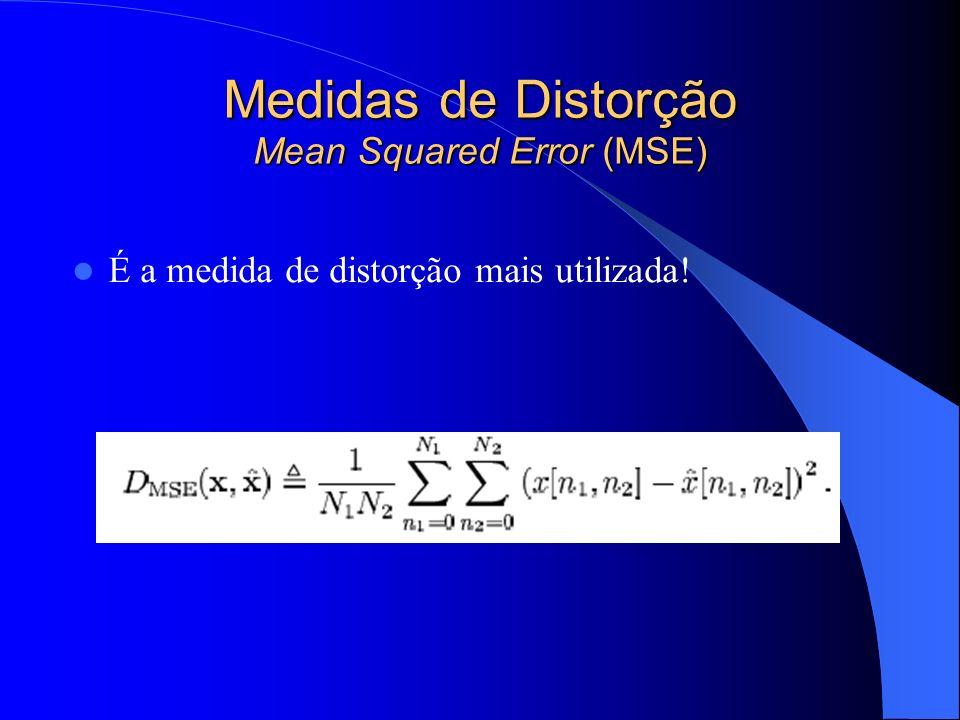 Medidas de Distorção Mean Squared Error (MSE) É a medida de distorção mais utilizada!