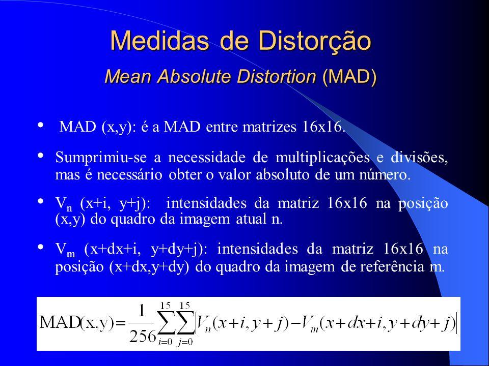 Medidas de Distorção Mean Absolute Distortion (MAD) MAD (x,y): é a MAD entre matrizes 16x16. Sumprimiu-se a necessidade de multiplicações e divisões,