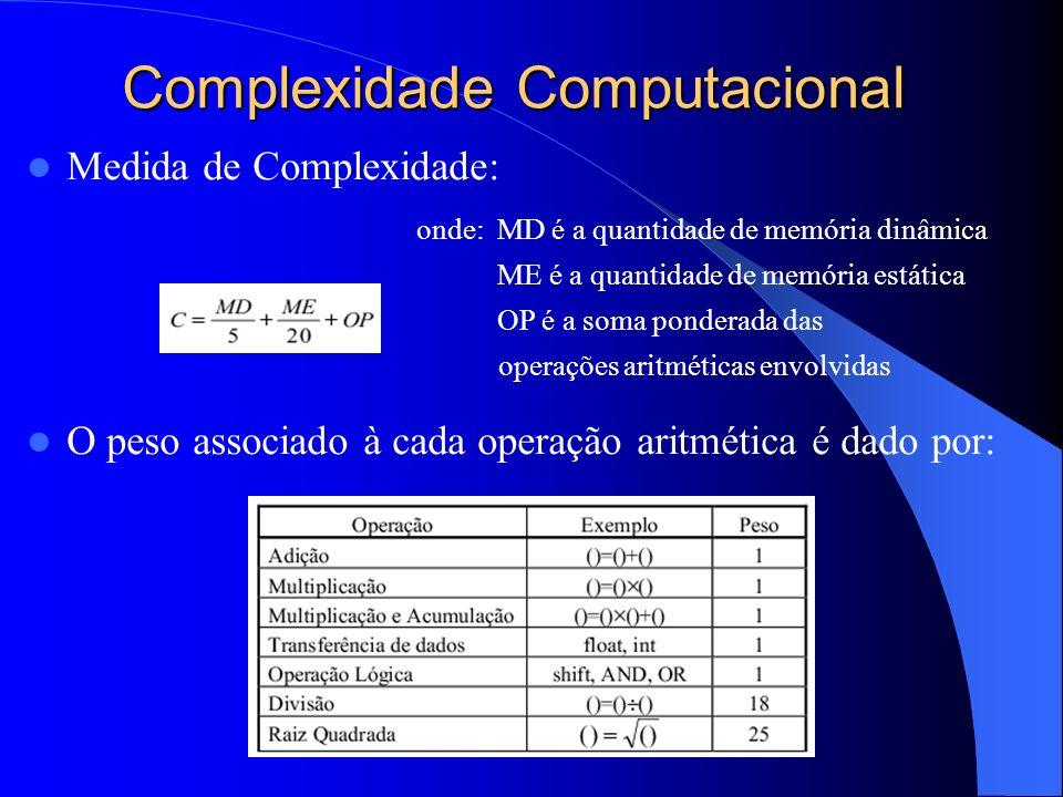 Complexidade Computacional Medida de Complexidade: onde: MD é a quantidade de memória dinâmica ME é a quantidade de memória estática OP é a soma ponde