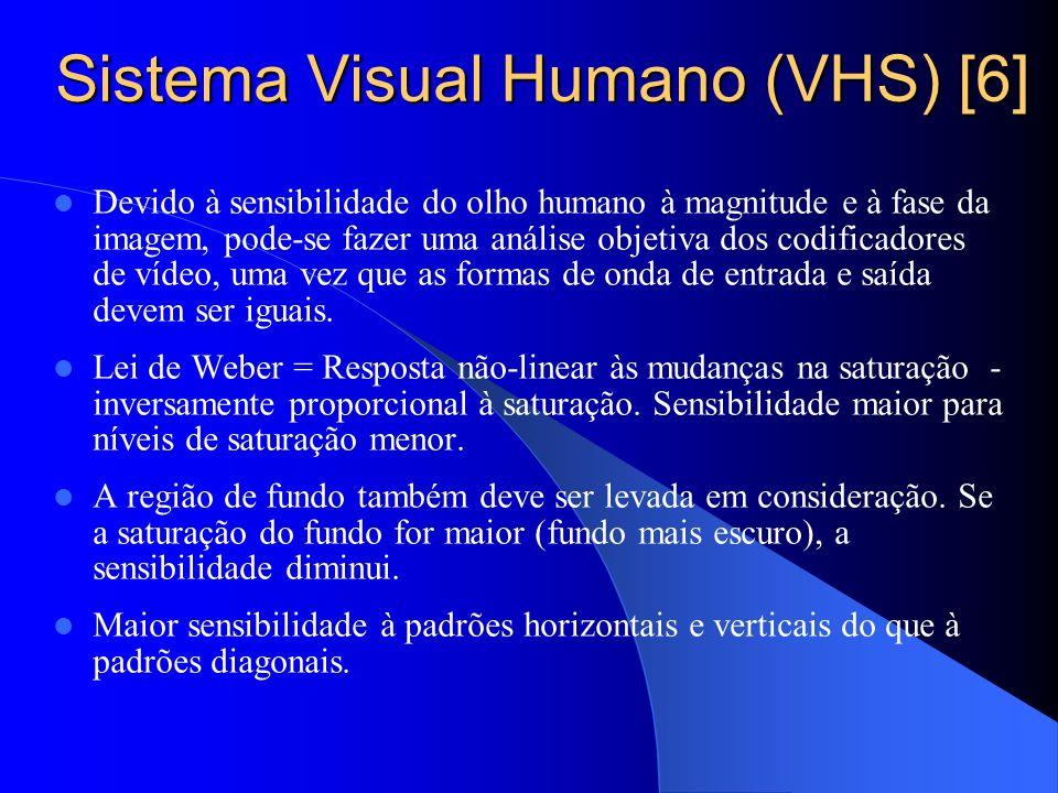 Sistema Visual Humano (VHS) [6] Devido à sensibilidade do olho humano à magnitude e à fase da imagem, pode-se fazer uma análise objetiva dos codificad