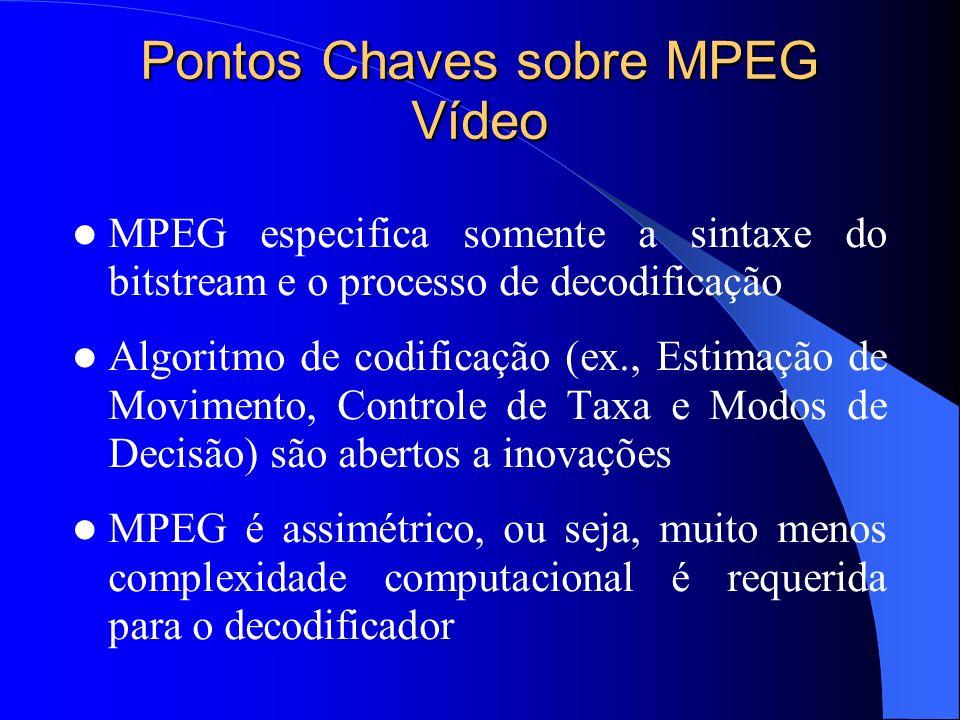 Pontos Chaves sobre MPEG Vídeo MPEG especifica somente a sintaxe do bitstream e o processo de decodificação Algoritmo de codificação (ex., Estimação d