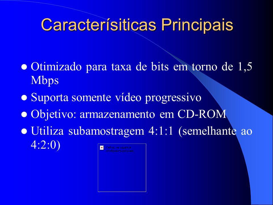 Caracterísiticas Principais Otimizado para taxa de bits em torno de 1,5 Mbps Suporta somente vídeo progressivo Objetivo: armazenamento em CD-ROM Utili