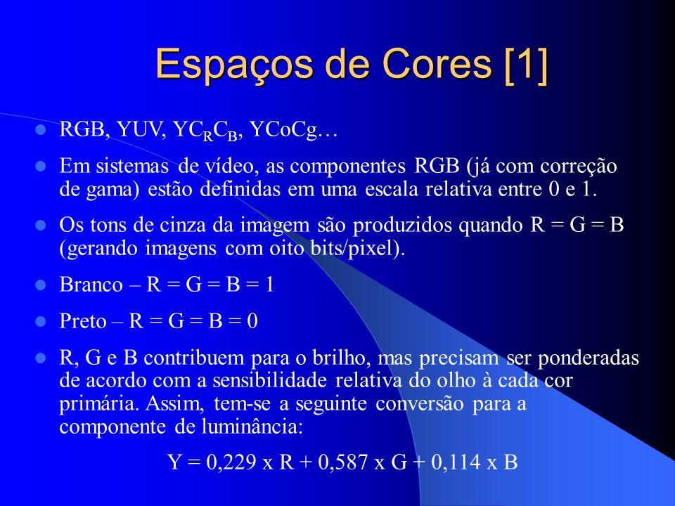 Espaços de Cores [1] Espaços de Cores [1] RGB, YUV, YC R C B, YCoCg… Em sistemas de vídeo, as componentes RGB (já com correção de gama) estão definida