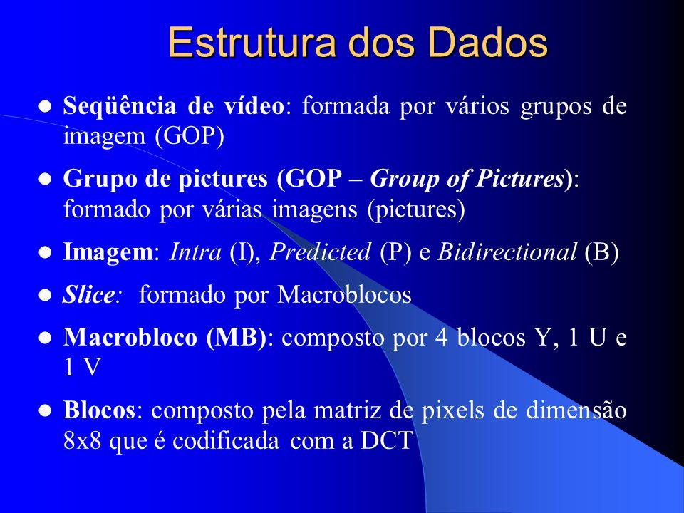 Estrutura dos Dados Seqüência de vídeo: formada por vários grupos de imagem (GOP) Grupo de pictures (GOP – Group of Pictures): formado por várias imag