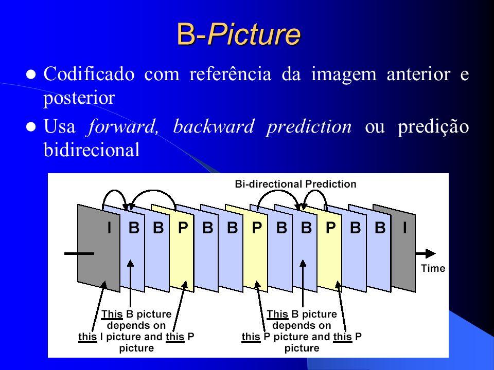 B-Picture Codificado com referência da imagem anterior e posterior Usa forward, backward prediction ou predição bidirecional