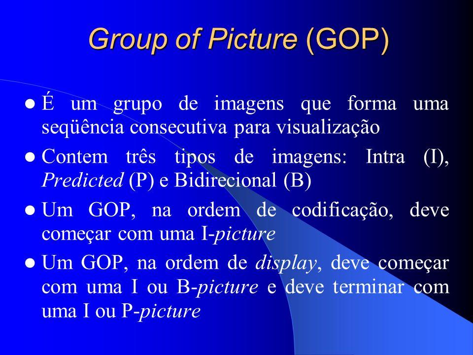 Group of Picture (GOP) É um grupo de imagens que forma uma seqüência consecutiva para visualização Contem três tipos de imagens: Intra (I), Predicted