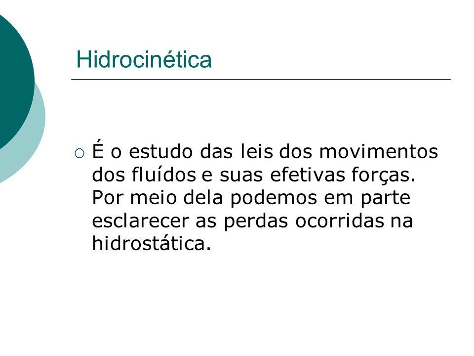 Hidrocinética É o estudo das leis dos movimentos dos fluídos e suas efetivas forças. Por meio dela podemos em parte esclarecer as perdas ocorridas na