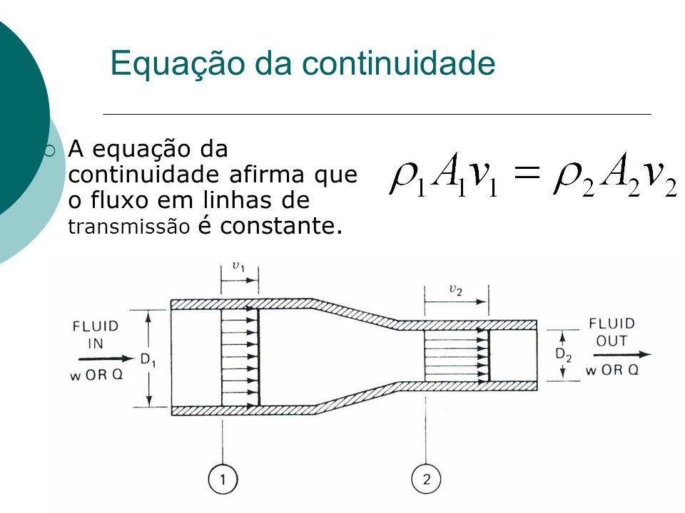 Equação da continuidade A equação da continuidade afirma que o fluxo em linhas de transmissão é constante.