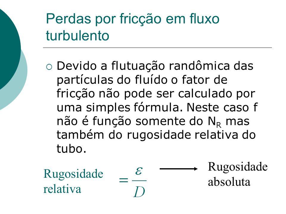 Perdas por fricção em fluxo turbulento Devido a flutuação randômica das partículas do fluído o fator de fricção não pode ser calculado por uma simples