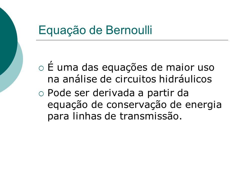 Equação de Bernoulli É uma das equações de maior uso na análise de circuitos hidráulicos Pode ser derivada a partir da equação de conservação de energ