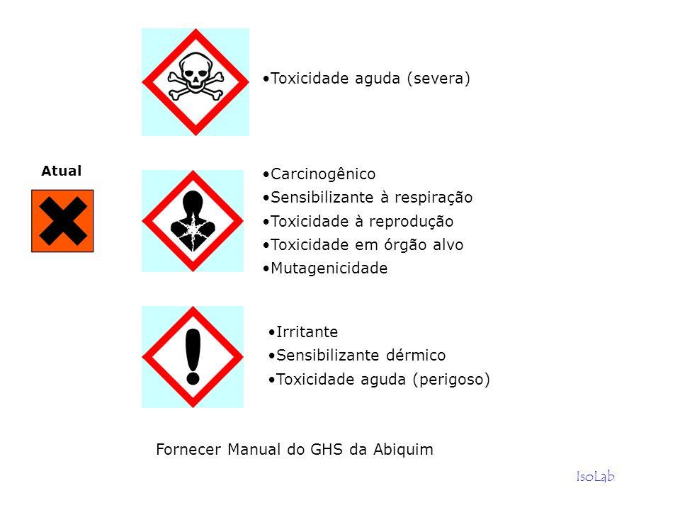 IsoLab Fornecer Manual do GHS da Abiquim Toxicidade aguda (severa) Carcinogênico Sensibilizante à respiração Toxicidade à reprodução Toxicidade em órg