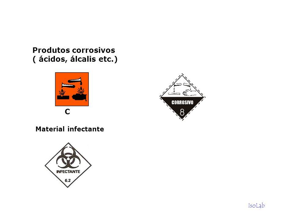IsoLab Produtos corrosivos ( ácidos, álcalis etc.) C Material infectante