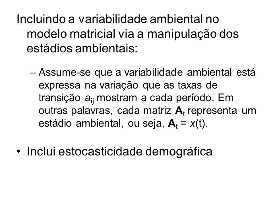 Incluindo a variabilidade ambiental no modelo matricial via a manipulação dos estádios ambientais: –Assume-se que a variabilidade ambiental está expre