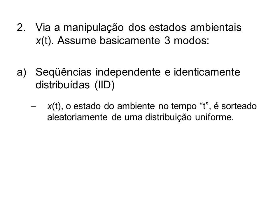 2.Via a manipulação dos estados ambientais x(t). Assume basicamente 3 modos: a)Seqüências independente e identicamente distribuídas (IID) –x(t), o est