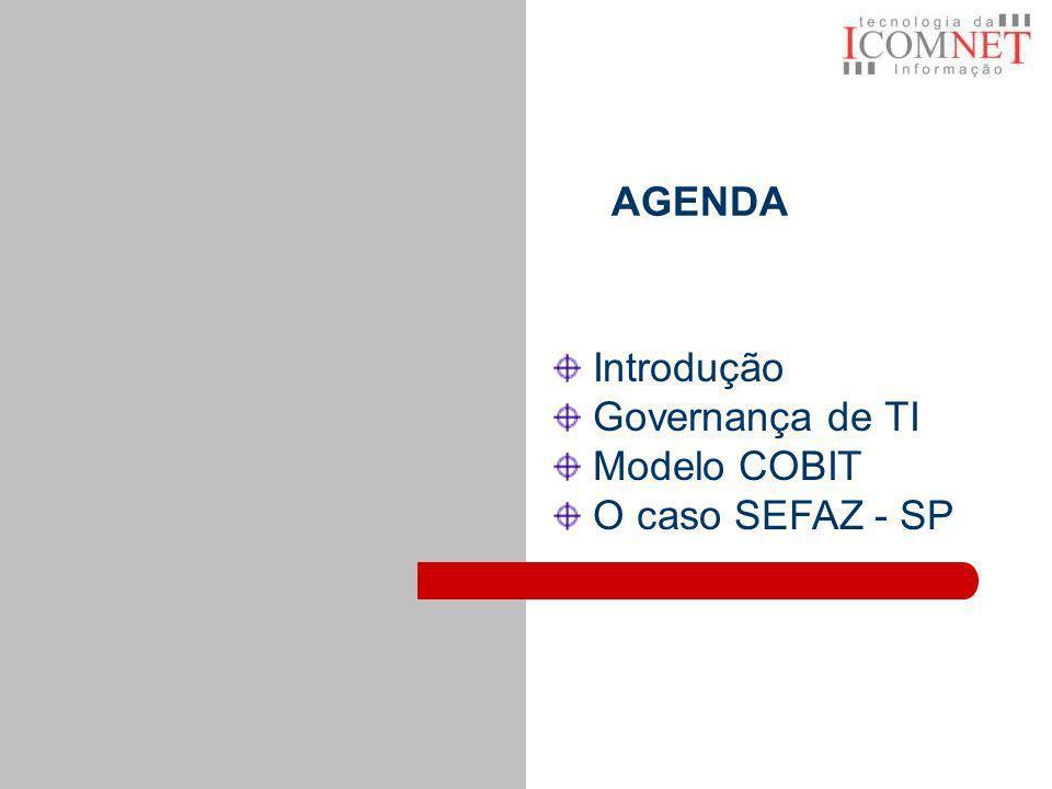 AGENDA Introdução Governança de TI Modelo COBIT O caso SEFAZ - SP