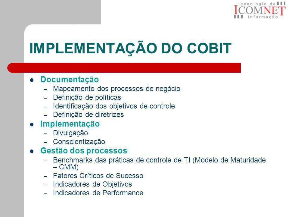 IMPLEMENTAÇÃO DO COBIT Documentação – Mapeamento dos processos de negócio – Definição de políticas – Identificação dos objetivos de controle – Definiç