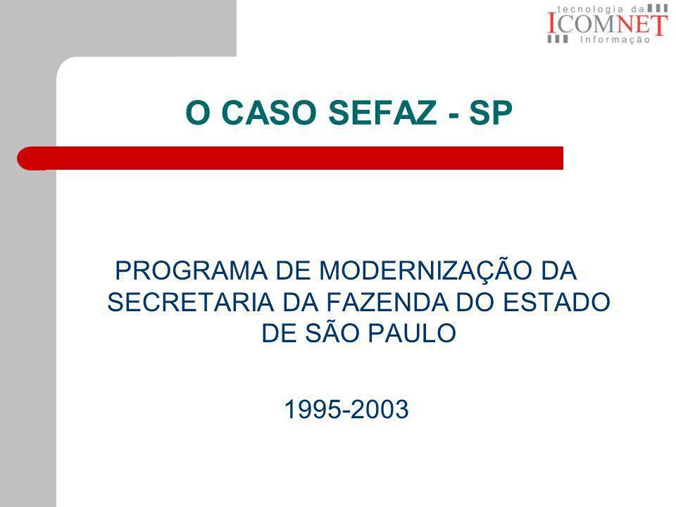 O CASO SEFAZ - SP PROGRAMA DE MODERNIZAÇÃO DA SECRETARIA DA FAZENDA DO ESTADO DE SÃO PAULO 1995-2003