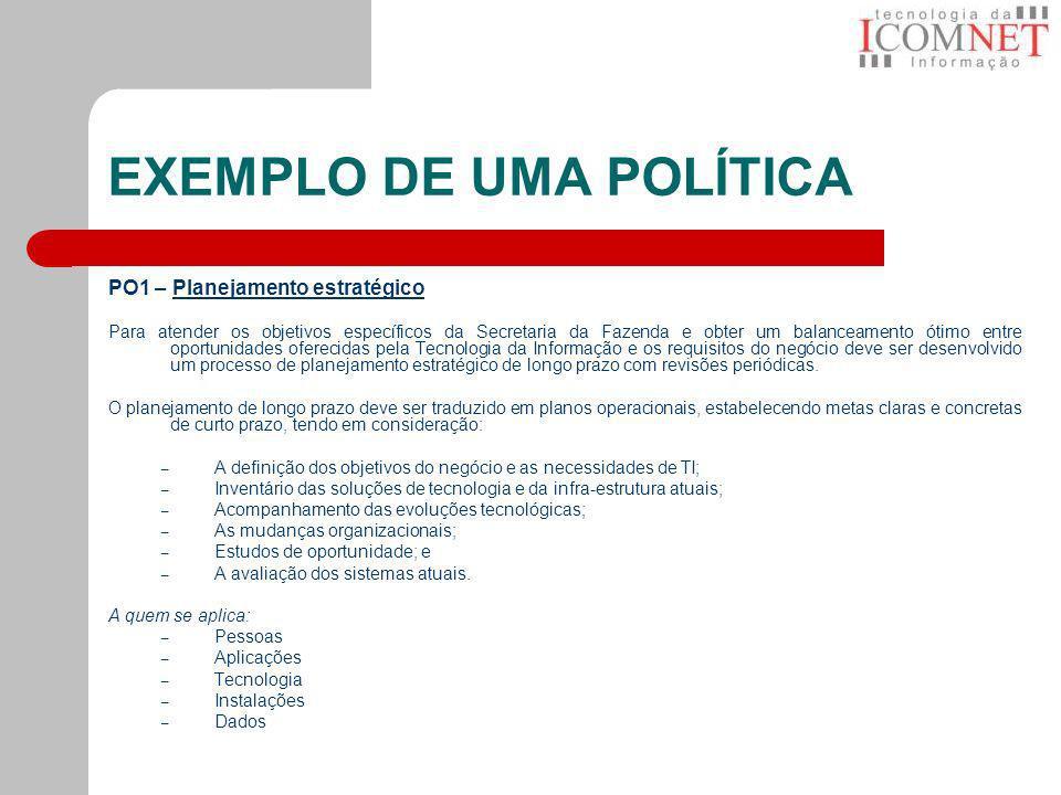 EXEMPLO DE UMA POLÍTICA PO1 – Planejamento estratégicoPlanejamento estratégico Para atender os objetivos específicos da Secretaria da Fazenda e obter