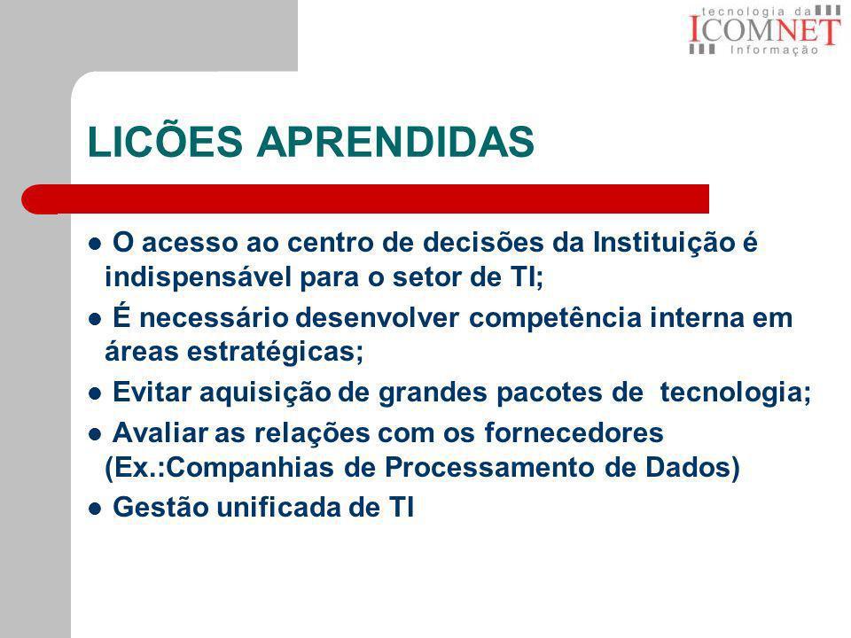 LICÕES APRENDIDAS O acesso ao centro de decisões da Instituição é indispensável para o setor de TI; É necessário desenvolver competência interna em ár