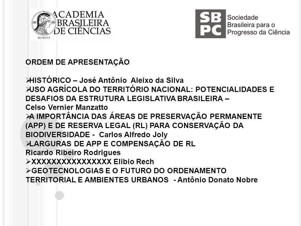 ORDEM DE APRESENTAÇÃO HISTÓRICO – José Antônio Aleixo da Silva USO AGRÍCOLA DO TERRITÓRIO NACIONAL: POTENCIALIDADES E DESAFIOS DA ESTRUTURA LEGISLATIVA BRASILEIRA – Celso Vernier Manzatto A IMPORTÂNCIA DAS ÁREAS DE PRESERVAÇÃO PERMANENTE (APP) E DE RESERVA LEGAL (RL) PARA CONSERVAÇÃO DA BIODIVERSIDADE - Carlos Alfredo Joly LARGURAS DE APP E COMPENSAÇÃO DE RL Ricardo Ribeiro Rodrigues XXXXXXXXXXXXXXXX Elibio Rech GEOTECNOLOGIAS E O FUTURO DO ORDENAMENTO TERRITORIAL E AMBIENTES URBANOS - Antônio Donato Nobre
