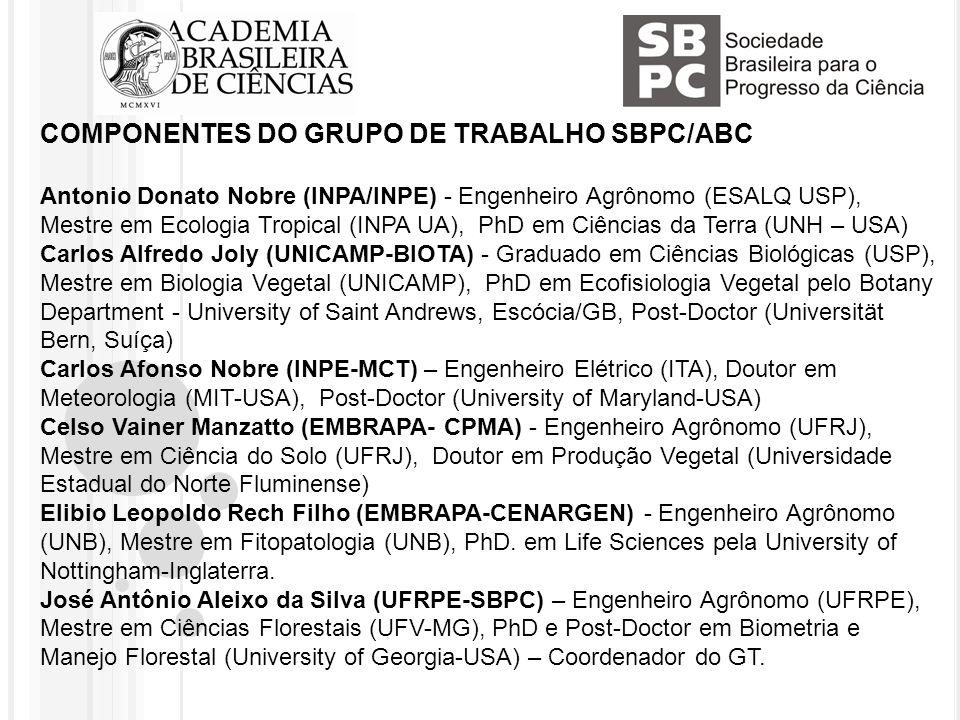 COMPONENTES DO GRUPO DE TRABALHO SBPC/ABC Antonio Donato Nobre (INPA/INPE) - Engenheiro Agrônomo (ESALQ USP), Mestre em Ecologia Tropical (INPA UA), PhD em Ciências da Terra (UNH – USA) Carlos Alfredo Joly (UNICAMP-BIOTA) - Graduado em Ciências Biológicas (USP), Mestre em Biologia Vegetal (UNICAMP), PhD em Ecofisiologia Vegetal pelo Botany Department - University of Saint Andrews, Escócia/GB, Post-Doctor (Universität Bern, Suíça) Carlos Afonso Nobre (INPE-MCT) – Engenheiro Elétrico (ITA), Doutor em Meteorologia (MIT-USA), Post-Doctor (University of Maryland-USA) Celso Vainer Manzatto (EMBRAPA- CPMA) - Engenheiro Agrônomo (UFRJ), Mestre em Ciência do Solo (UFRJ), Doutor em Produção Vegetal (Universidade Estadual do Norte Fluminense) Elibio Leopoldo Rech Filho (EMBRAPA-CENARGEN) - Engenheiro Agrônomo (UNB), Mestre em Fitopatologia (UNB), PhD.